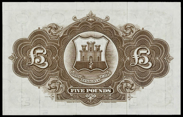 Gibraltar money currency 5 Pound note 1971 Coat of arms of Gibraltar