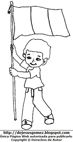 Dibujo de un niño llevando la bandera peruana para colorear, pintar e imprimir. Dibujo de bandera de Jesus Gómez