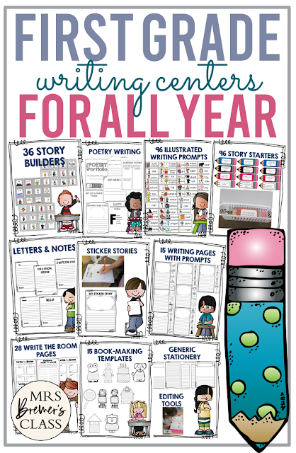 First Grade writing centers for the whole school year with templates, prompts, story starters, book-making, graphic organizers, and more.
