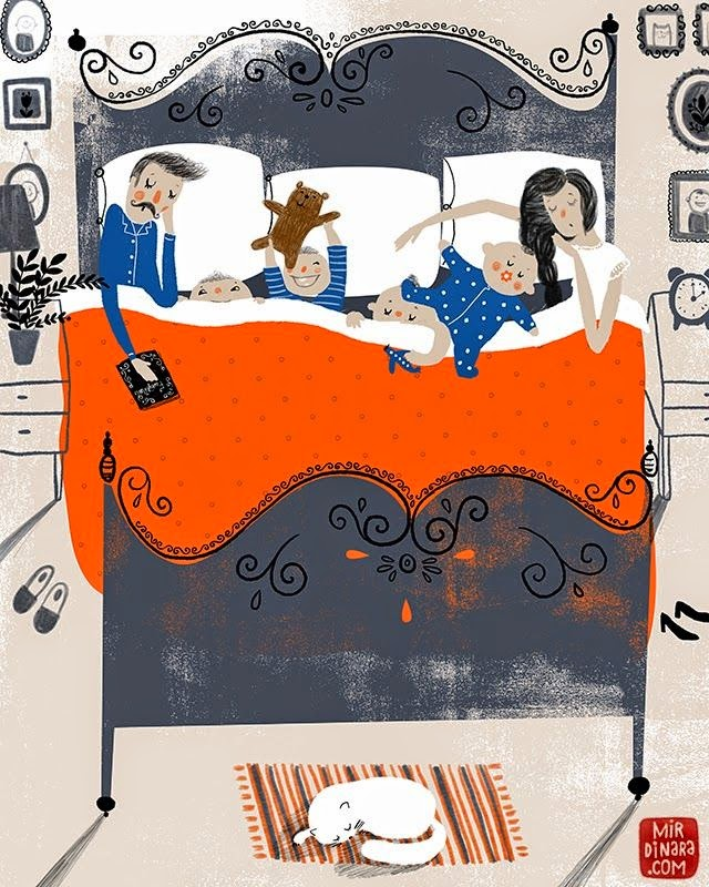 illustration by Dinara Mirtalipova of a family sleeping together in the same bed