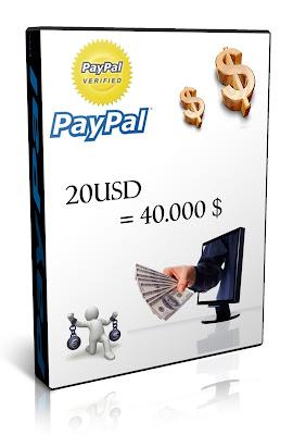 Venta de 20 Dolares en Paypal por 40.000 Pesos
