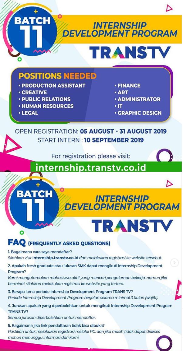 Lowongan Internship Development Program Trans TV Sampai 31 Agustus 2019