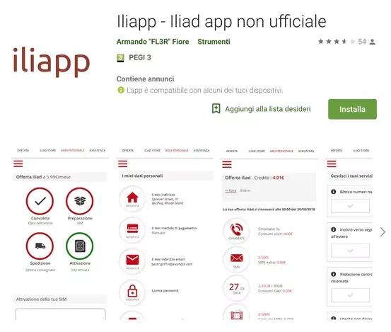 iliaapp, app non ufficiale di iliad per android