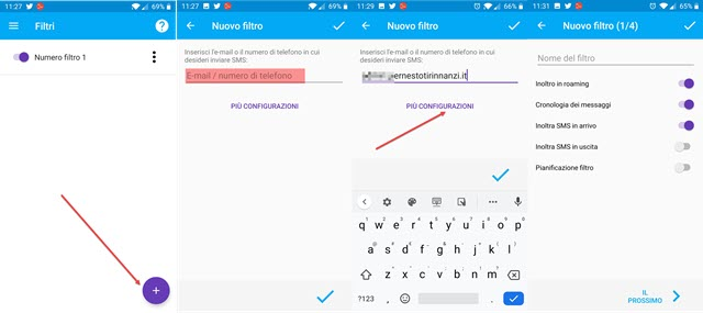 configurazione applicazione inoltro sms telefono o email
