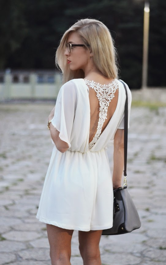 CUT OUT LACE PLAYSUIT, STUDDED HEELS & STEVE MADDEN BAG