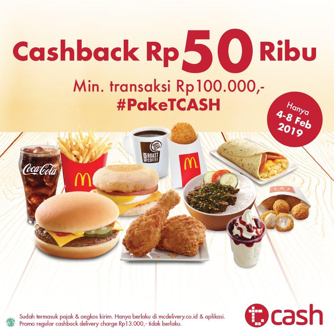 #McDonalds - #Promo Pesan Pakai McDelivery & Cashback 50K Pakai Tcash (s.d 8 Feb 2019)