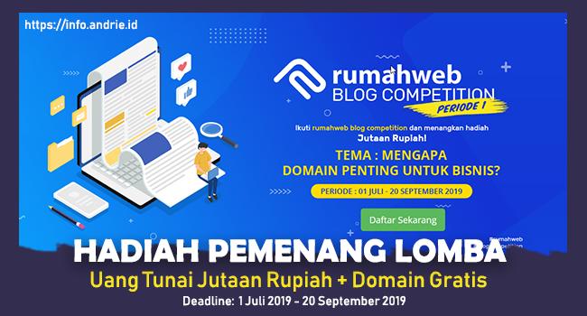 Lomba Blog Competition Rumah Web 2019 - Hadiah Jutaan Rupiah + Domain Gratis