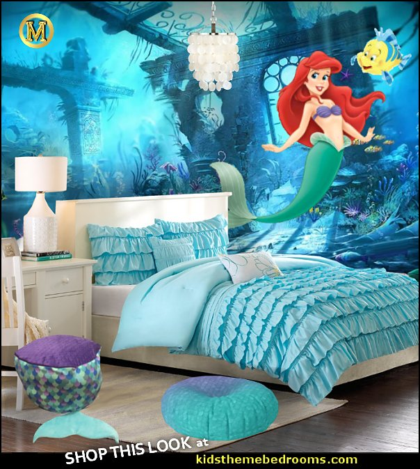 Little Mermaid Ariel bedroom decor ariel wall decal  Ariel Flounder wall decal   Underwater world underwater castle Wallpaper mural