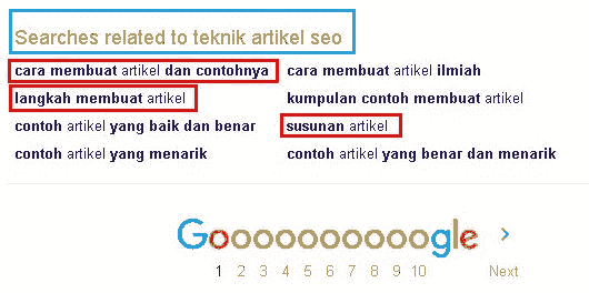 Related Search pencarian dengan kata kunci Teknik Artikel SEO