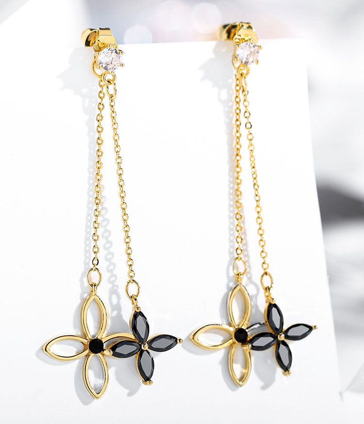 兩造型優雅黑鏤空金幸運草流蘇耳環