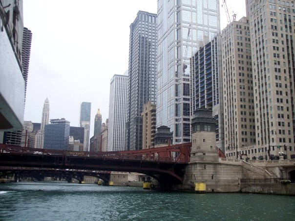 Downtown Chicago bridge over river by Hello Lovely Studio