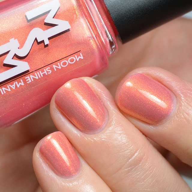 grapefruit jelly nail polish with shimmer swatch