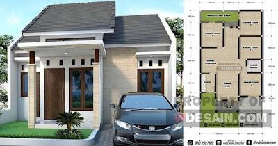 Desain Rumah 8x15 4 Kamar 1 Lantai