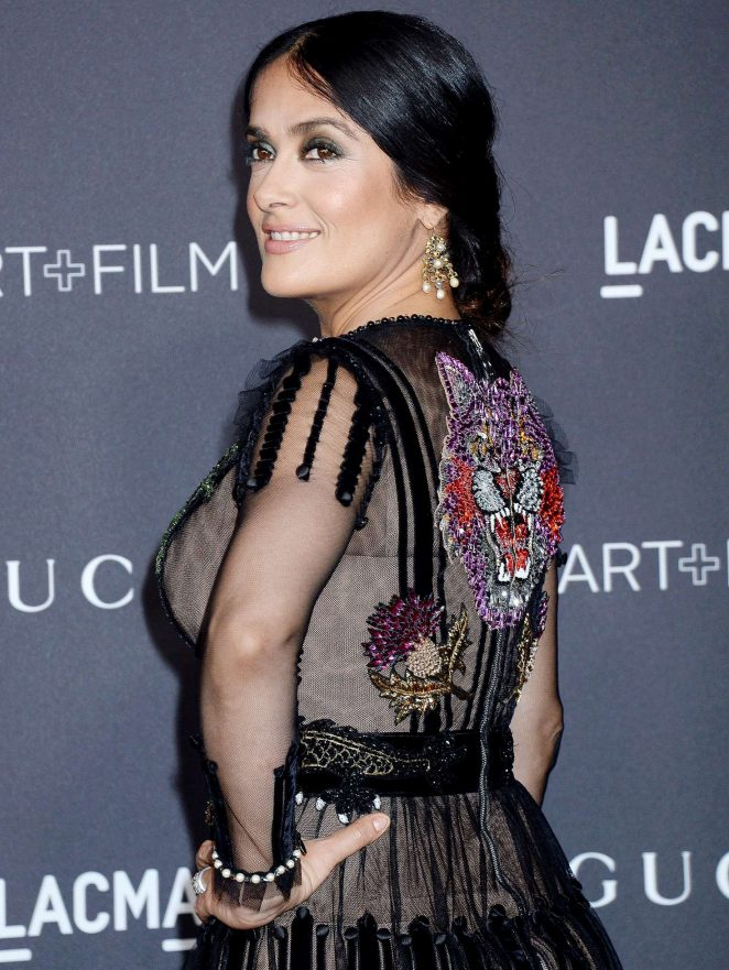 Hollywood Actress Salma Hayek Stills In Black Dress