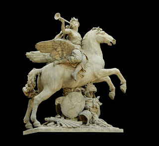 A olympian god seated on Pegasus, a flying horse