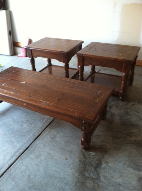 Rescued Renewed Old Dark Wood Coffee Table And End Tables