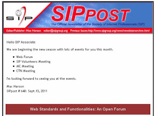 Screenshot: SIP Forum and Events for September 2011