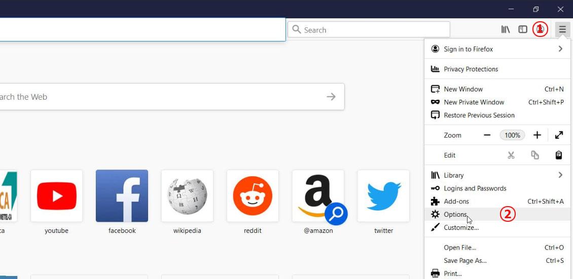 Hình 3. Mở menu Options trên Firefox