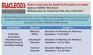 Diploma, ITI, B.Sc, B. Pharmacy,  & M. Pharmacy For Macleods Pharmaceuticals Ltd, Walk-ln Interview at Indore