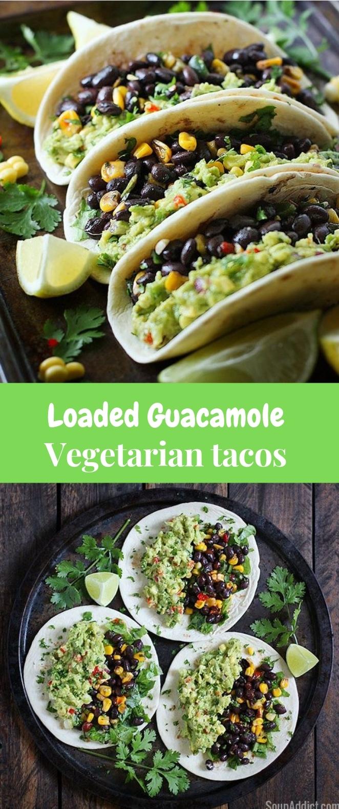 LOADED GUACAMOLE VEGETARIAN TACOS #vegetarian #tacos