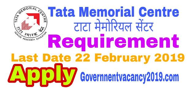 Tata Memorial Center (TMC) Recruitment | 95 Civil Officers, Foreman and Other Posts Gov Job 2019 governmentvacancy2019.com