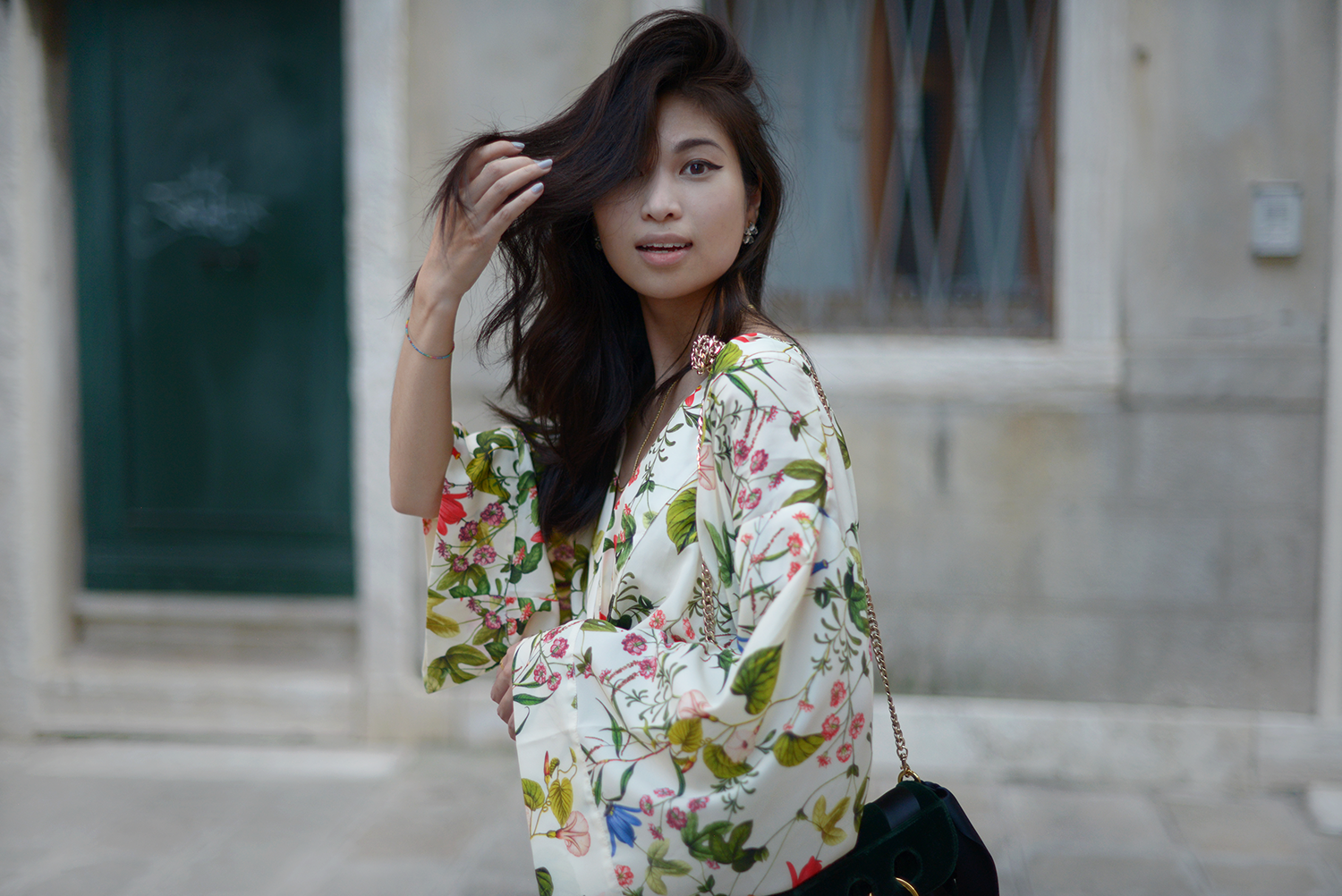 Tropical Printed Kimono with J.W Anderson Mini Green Velvet Pierce Bag in Venice Italy / FOREVERVANNY.com