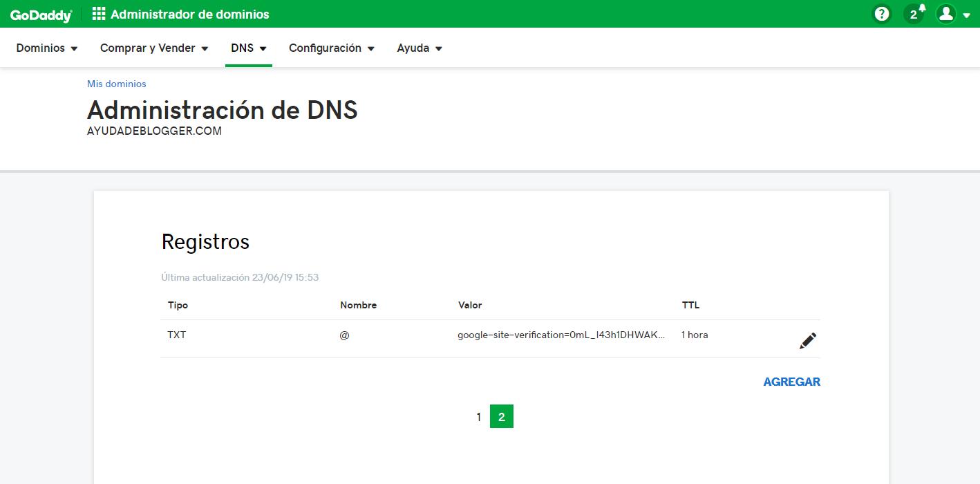Verificación de la propiedad en Google search console ¿Cómo añadir un registro TXT en GoDaddy?