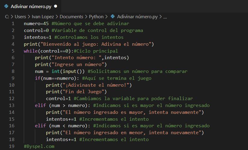 Juego en Python Adivina el número
