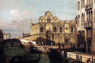A Bellotto of the Rio dei Mendacanti with the Scuola di San Marco in Venice, probably executed in about 1741