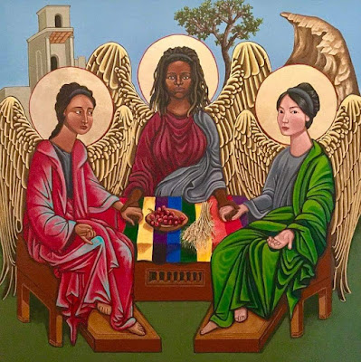 ID: an interpretation of Rublev's icon of the Trinity, Kelly Latimore's Trinity depicts three angelic figures holding hands and seated at a table set with grapes and wheat on a rainbow tablecloth.  The person on the left has a medium-dark tone skin, loose, dark curly or wavy hair in a braid down the back, and a reddish pink robe while their free hand is palm up with thumb and middle finger touching and index finger extended; the middle person has dark skin and dreadlocks that fall to the shoulder with deep maroon clothing and a light blue fabric covering it on the right; the person on the right has medium-light skin, straight, black hair pulled back in a bun, and light blue clothing and a green fabric covering it on the right while their free hand rests on their knee, open and facing palm up.