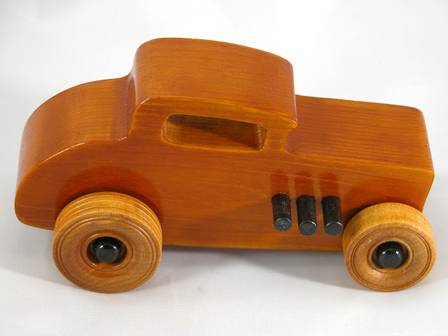 Top Right Side - Wood Toy Cars - Wooden Cars - Wood Toys - Wooden Car - Wood Toy Car - Hot Rod - 1932 Ford - 32 Deuce Coupe - Little Deuce Coupe - Roadster - Race Car