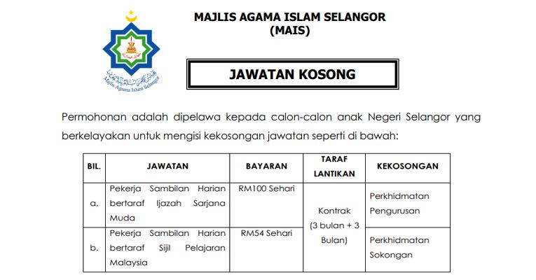 Jawatan Kosong di Majlis Agama Islam Selangor MAIS