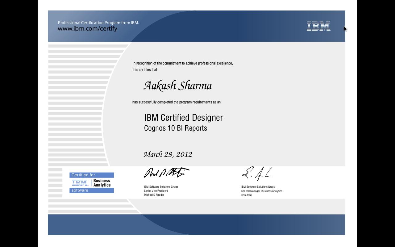 ibm cognos certification certificate server administrator report