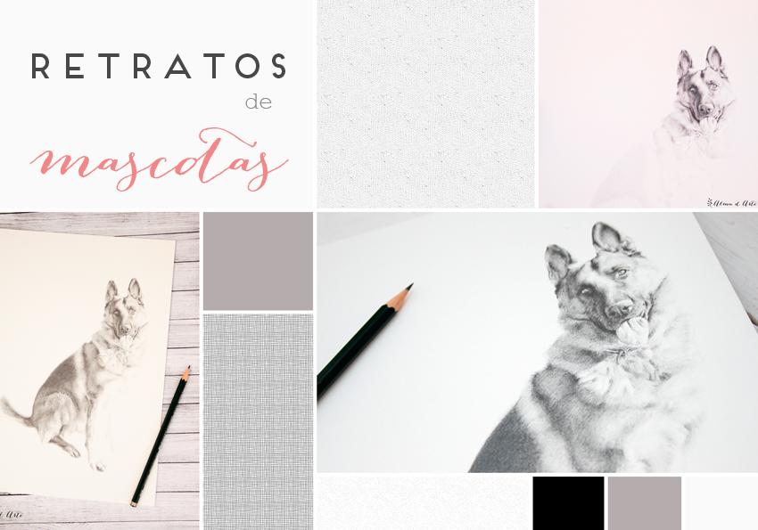 Moodboard retratos dibujados de mascotas