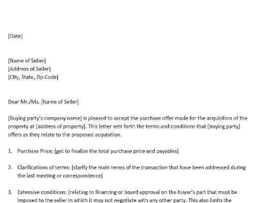 Property Offer Acceptance Letter