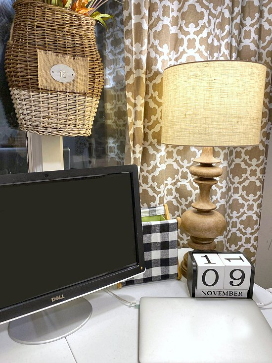 DIY Mini desktop buffalo check home office trash can makeover