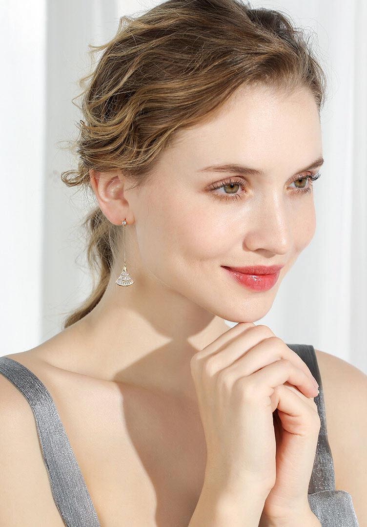 唯美鋯石扇形流蘇耳環