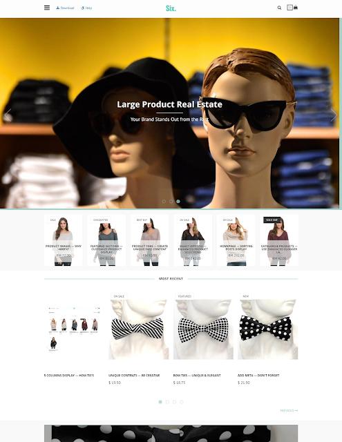 Template blogspot bán hàng miễn phí BlogrCart SIX