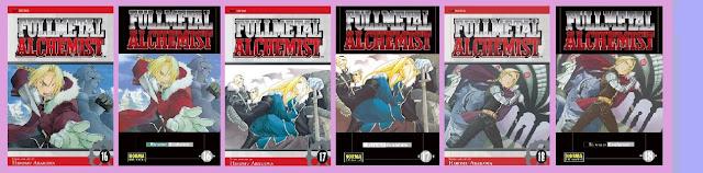 portadas de los tomos 16 a 18 del cómic Fullmetal alchemist, de Hiromu Arakawa