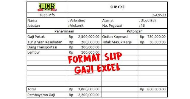 Format Slip Gaji Excel