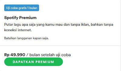pilihan paket spotify premium