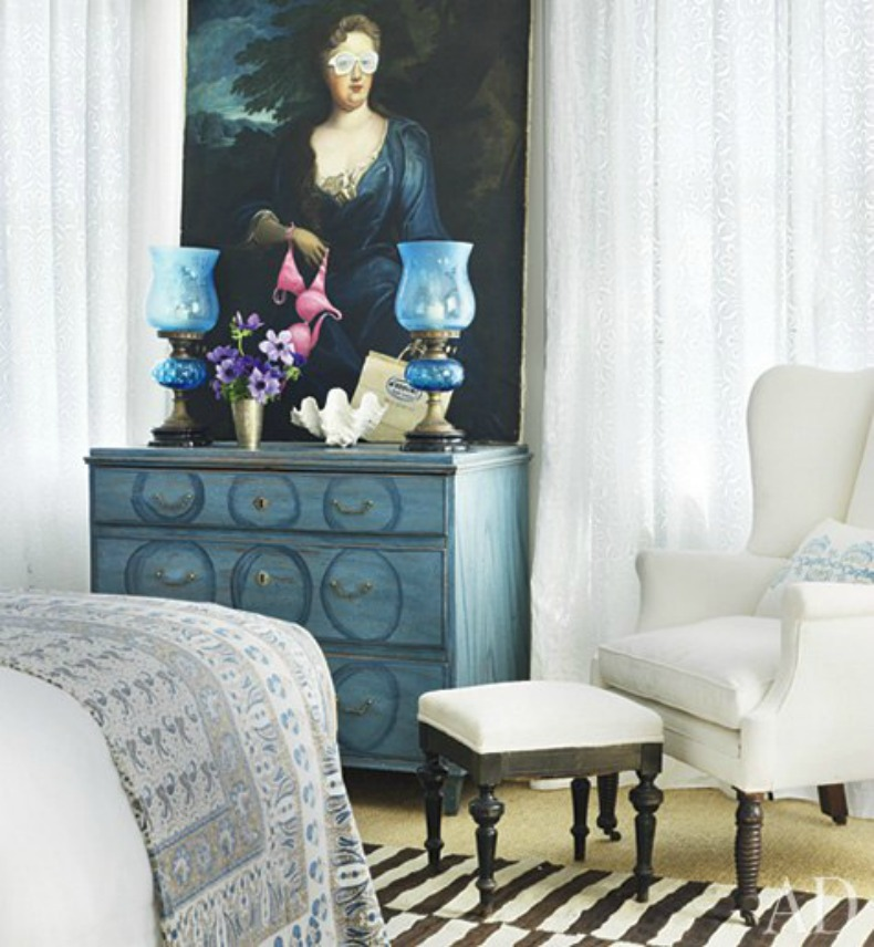 Coastal Guest Bedroom, Indian blankets and beautiful aqua Sweidsh chest.
