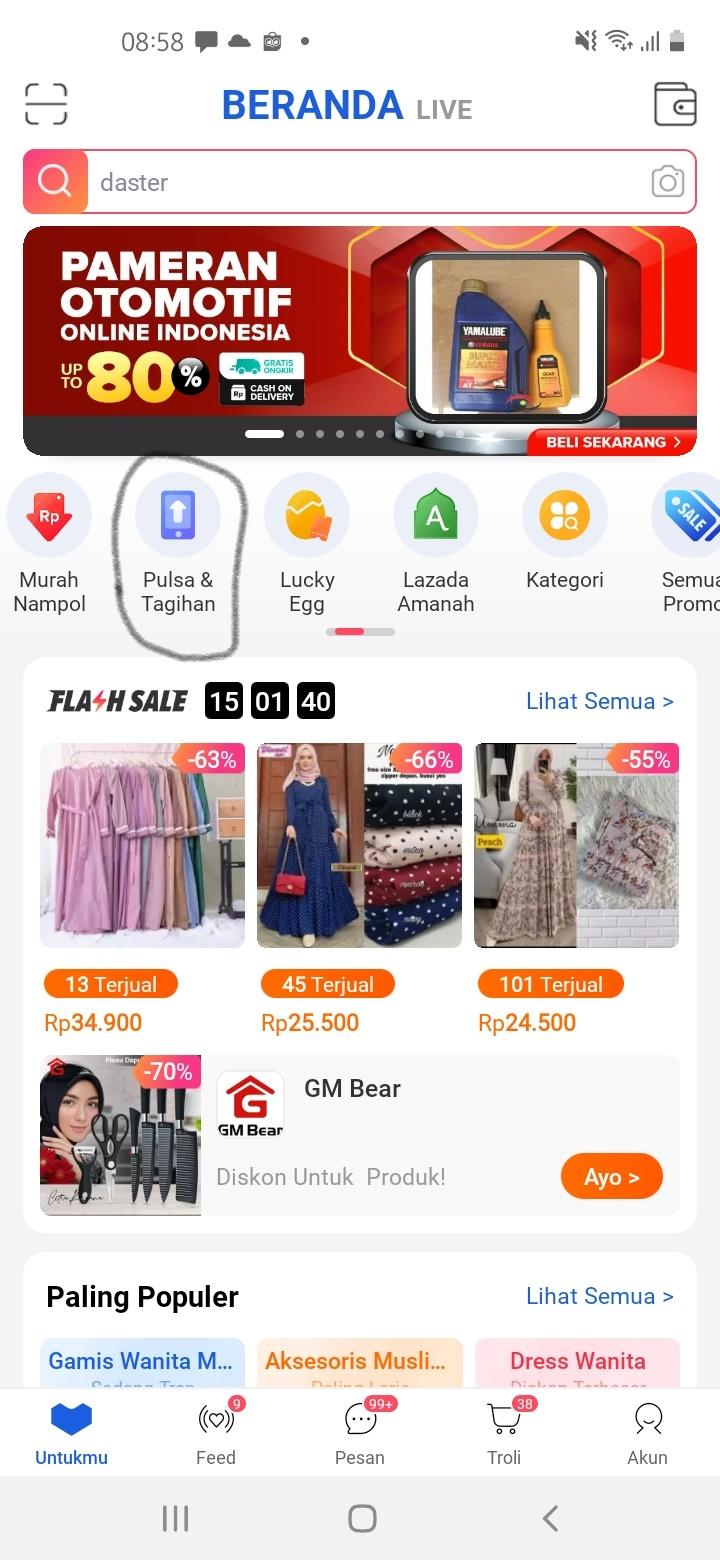 Halaman utama Aplikasi Lazada