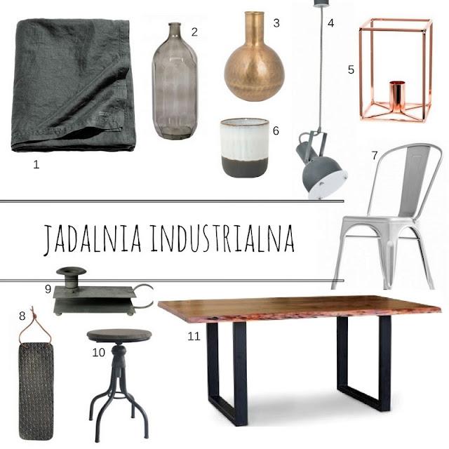 obrus lniany H&m home, lampa w stylu industrialnym, mlamp