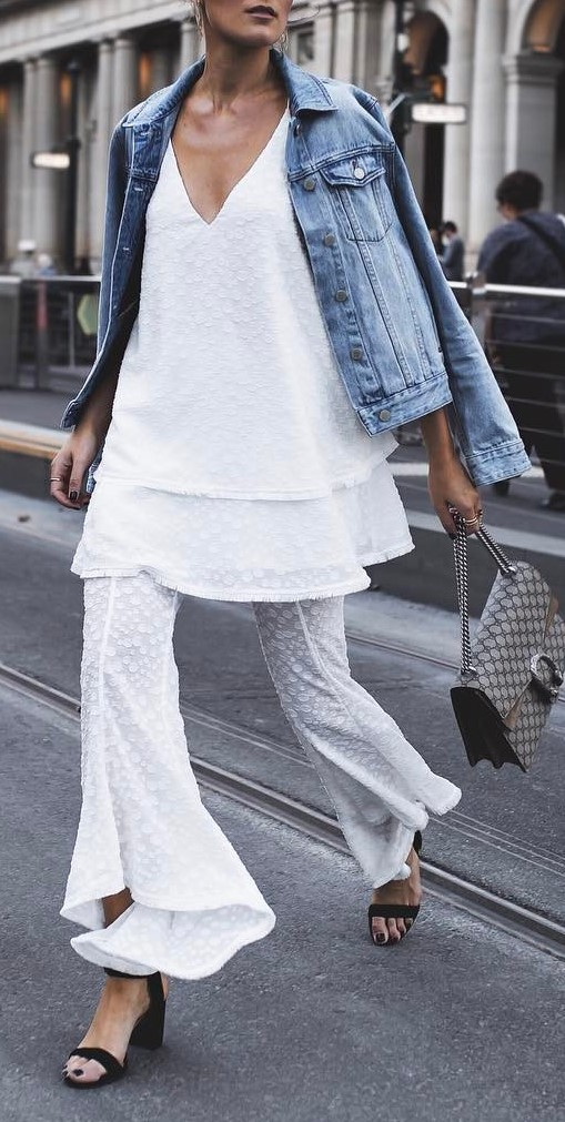 all white everything + denim details
