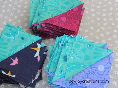 half square triangles Dazzle Quilt Sew Joy Creations