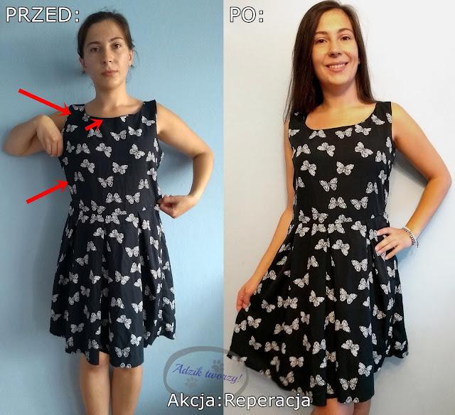 Akcja:Reperacja u Adzika - podsumowanie września 2019 - przeróbka sukienki