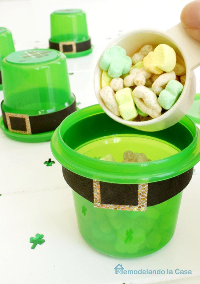 Lucky charms inside Leprechaun hat for kid's school treats