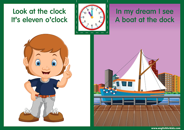 Telling the time worksheet - eleven o'clock on the clock - printable ESL resources