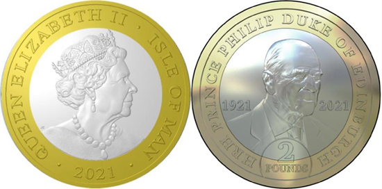 Isle of Man 2 pounds 2021 - Prince Philip in Memoriam